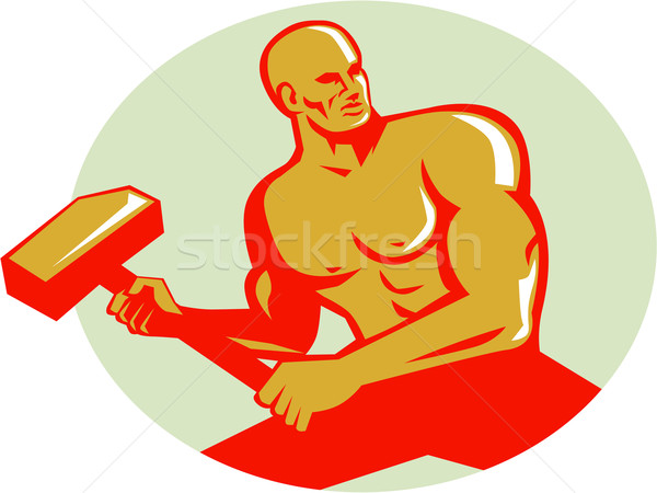 Athlete With Sledgehammer Training Oval Retro Stock photo © patrimonio