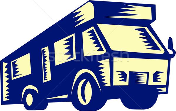 Camper Van Motor Home Woodcut Stock photo © patrimonio