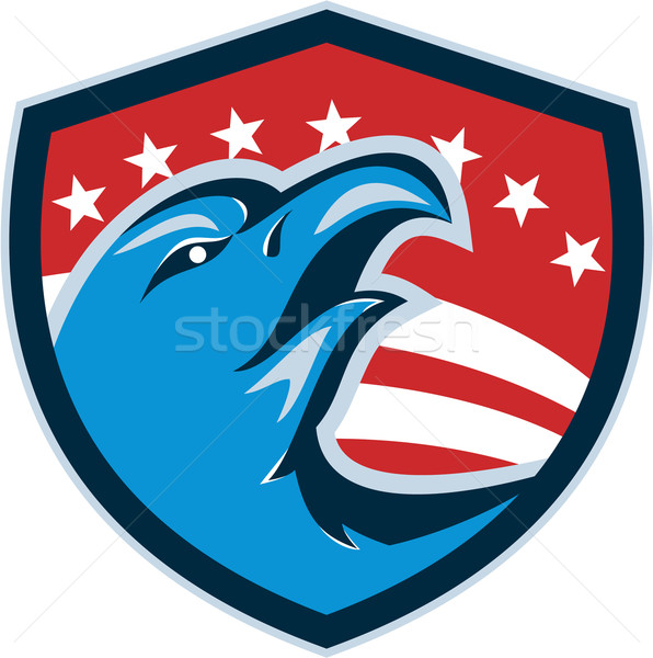 Bald Eagle Head American Stars and Stripes Shield Retro Stock photo © patrimonio
