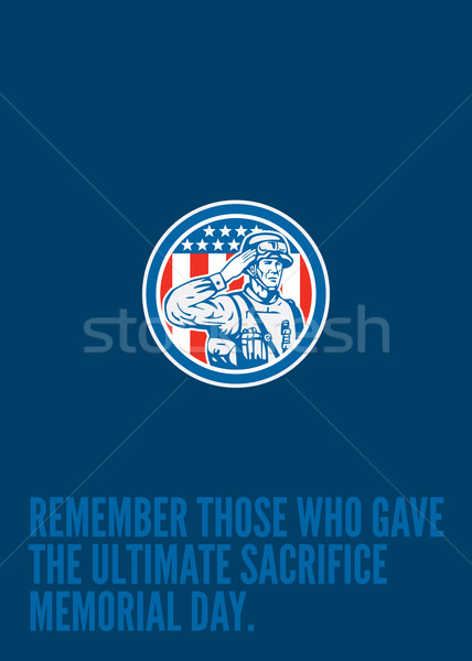 Memorial Day Greeting Card Soldier Military Salute Circle  Stock photo © patrimonio