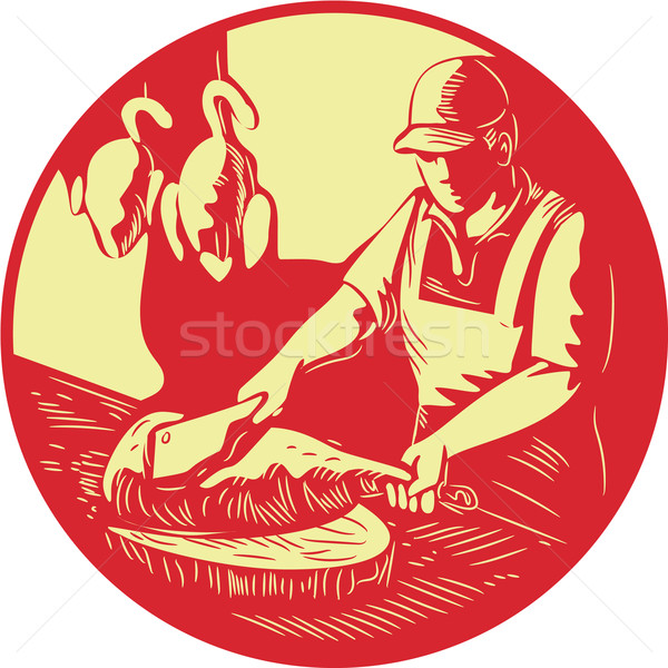 Chinese Cook Chop Meat Oval Circle Woodcut Stock photo © patrimonio