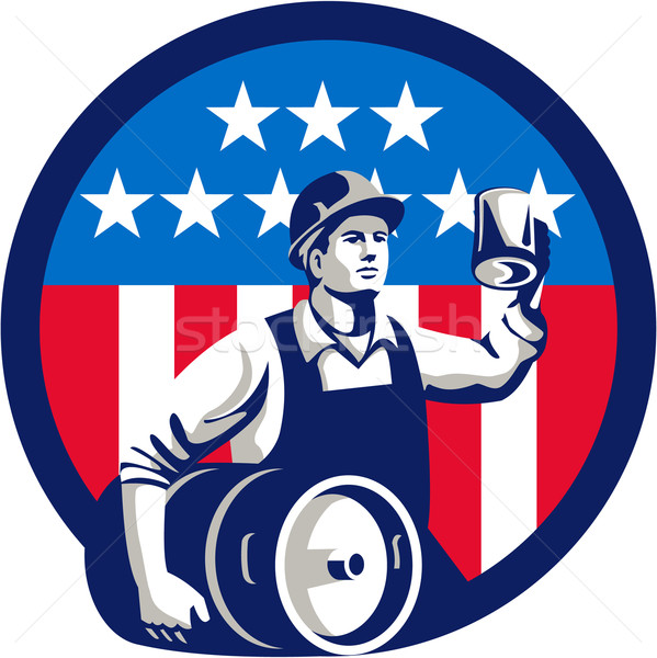 American Builder Beer Keg Flag Circle Retro Stock photo © patrimonio