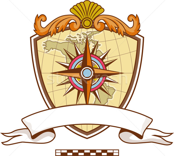 Compass Navigator Map Coat of Arms Crest Retro Stock photo © patrimonio