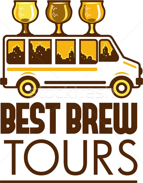 Beer Flight Glass Van Best Brew Tours Retro Stock photo © patrimonio