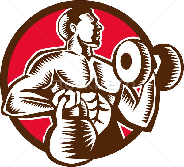 Athlete Lifting Kettlebell Dumbbell Circle Woodcut Stock photo © patrimonio
