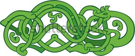Serpente stomaco retro illustrazione grigio set Foto d'archivio © patrimonio