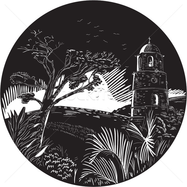Belfry Tower On Hill Trees Circle Woodcut Stock photo © patrimonio