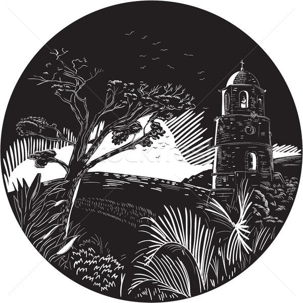 Belfry Tower On Hill Trees Circle Woodcut Stock photo © patrimonio