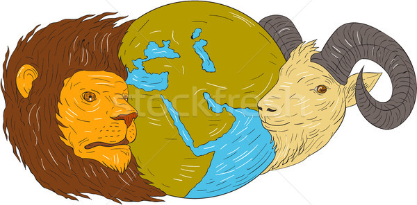 Lion Goat Head Middle East Map Globe Drawing Stock photo © patrimonio