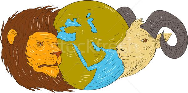Leeuw geit hoofd midden oosten kaart wereldbol Stockfoto © patrimonio
