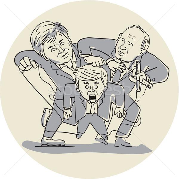 марионеточного овальный Cartoon иллюстрация два Сток-фото © patrimonio