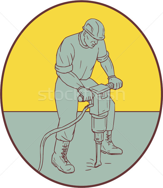 Construction Worker Operating Jackhammer Oval Drawing Stock photo © patrimonio