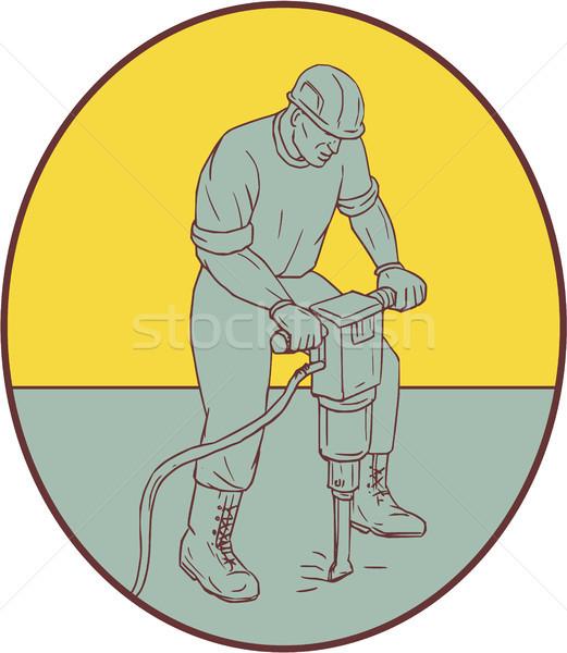 Trabajador de la construcción oval dibujo boceto estilo ilustración Foto stock © patrimonio