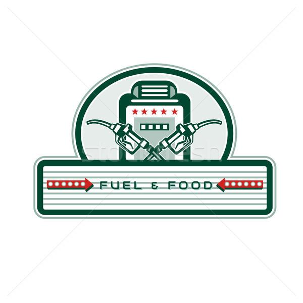 üzemanyag fúvóka benzinkút pumpa retro retró stílus illusztráció Stock fotó © patrimonio