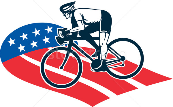 Cyclist riding racing bike star and stripes flag Stock photo © patrimonio