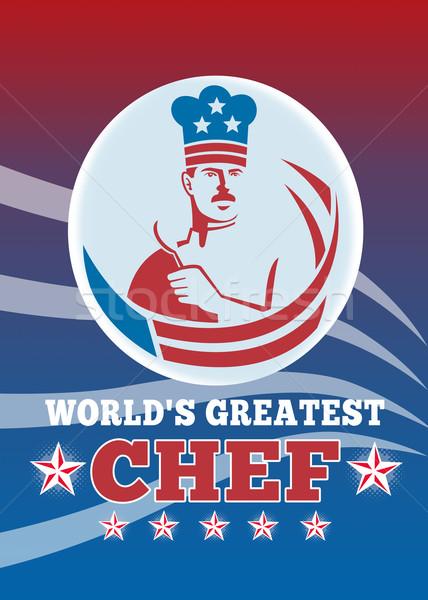 Legnagyszerűbb amerikai szakács üdvözlőlap poszter illusztráció Stock fotó © patrimonio