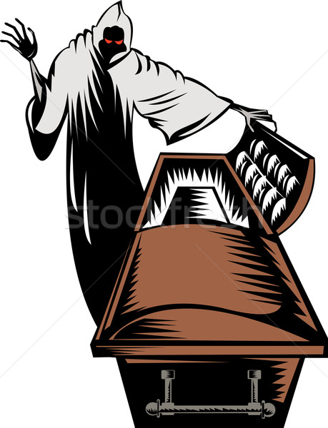 Grim Reaper Death Coffin Retro Stock photo © patrimonio