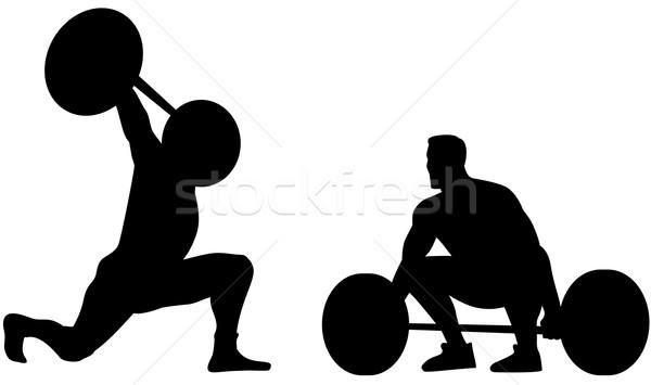 Silhouet illustratie gewicht gewichten retro-stijl Stockfoto © patrimonio