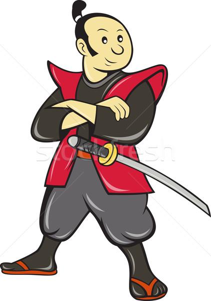Japonês samurai guerreiro espada ilustração desenho animado Foto stock © patrimonio