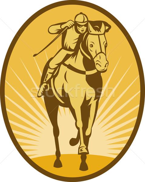 Foto stock: Caballo · jockey · carreras · frente · vista · ilustración