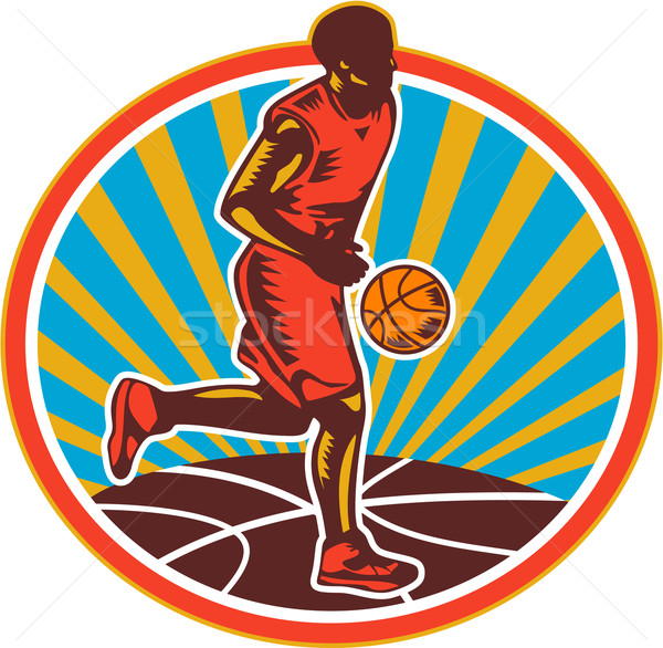 Basketball Player Dribbling Ball Woodcut Retro Stock photo © patrimonio