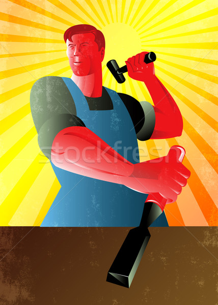 Carpenter Striking Hammer Chisel Poster Retro Stock photo © patrimonio