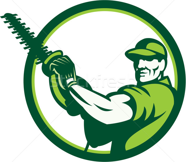 Tree Surgeon Holding Hedge Trimmer Retro Stock photo © patrimonio