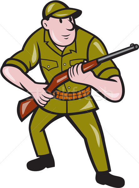Jager geweer cartoon illustratie Stockfoto © patrimonio