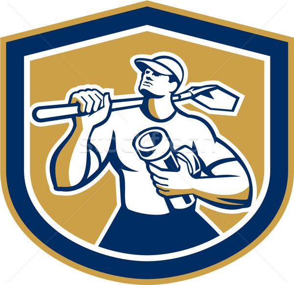 Drainlayer Holding Pipe and Shovel Shield Stock photo © patrimonio