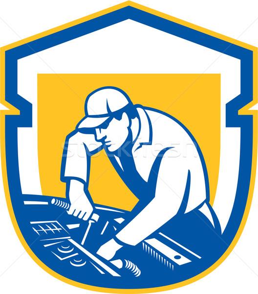 自動車修理 シールド レトロな 実例 ストックフォト © patrimonio