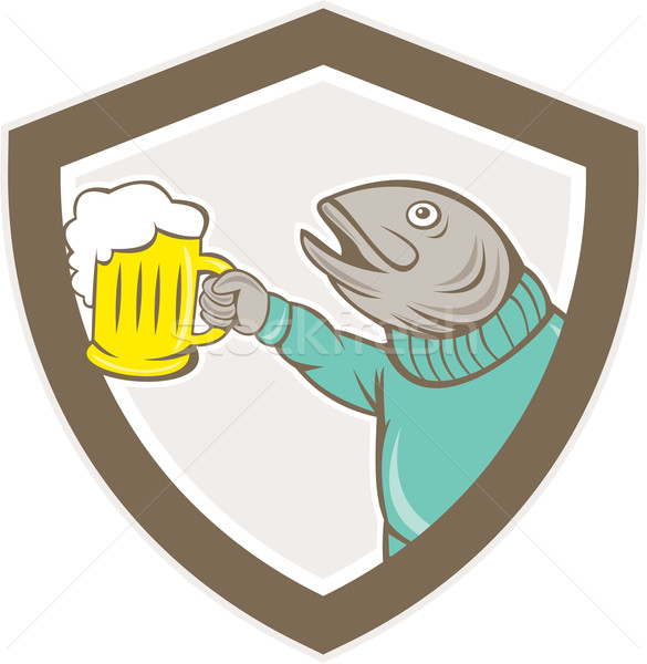 Truta peixe cerveja caneca escudo Foto stock © patrimonio