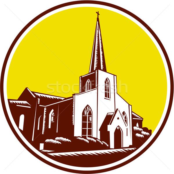 Trinity Parish Episcopal Church Woodcut Retro Stock photo © patrimonio