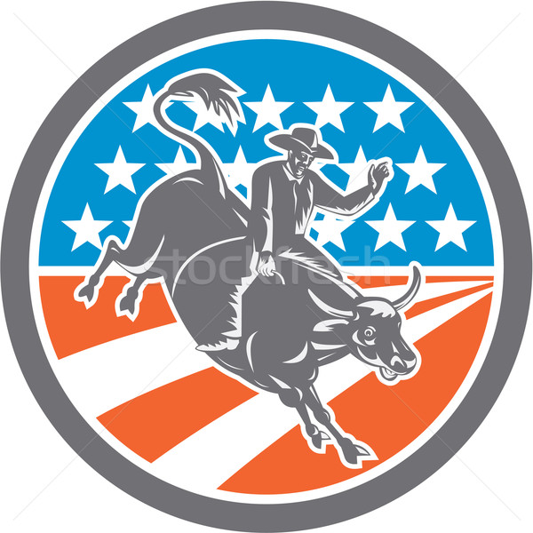 Rodeo Cowboy Bull Riding Flag Circle Retro Stock photo © patrimonio