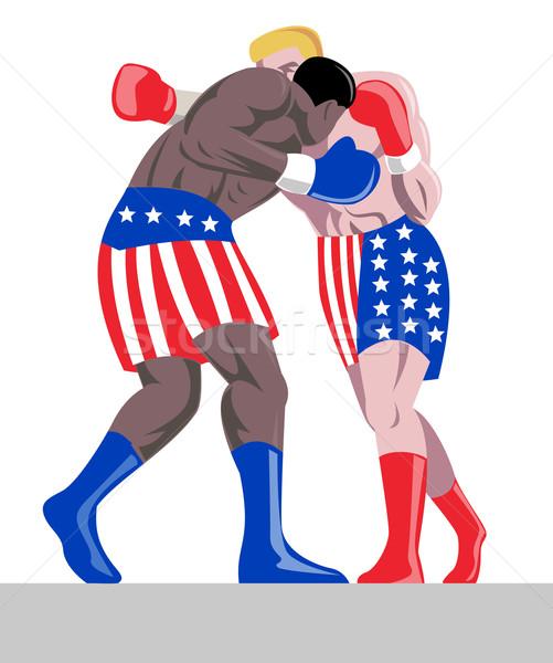 Kettő boxeralsó USA színek illusztráció harcol Stock fotó © patrimonio
