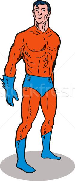 Süper kahraman ayakta yan örnek yandan görünüş yalıtılmış Stok fotoğraf © patrimonio