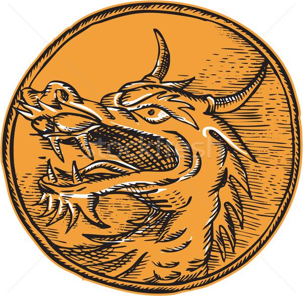 Китайский дракон голову круга ручной работы стиль Сток-фото © patrimonio