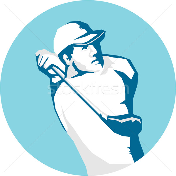 Golfer Tee Off Golf Stencil Stock photo © patrimonio