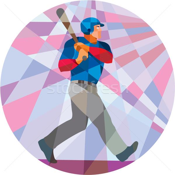 Baseball Batter Hitter Batting Low Polygon Stock photo © patrimonio