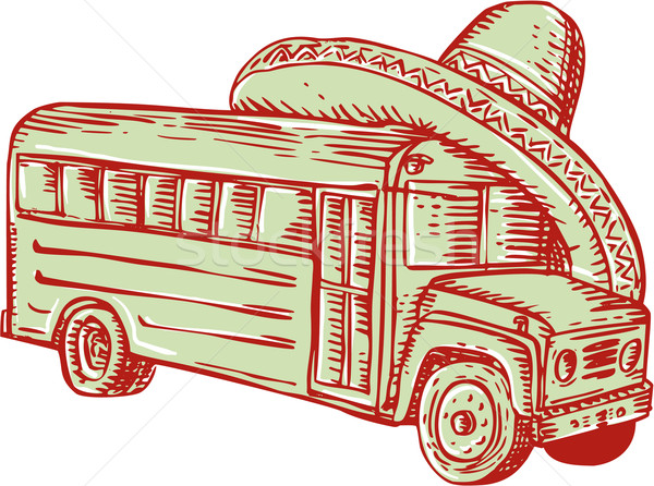 Sombrero School Bus Etching Stock photo © patrimonio
