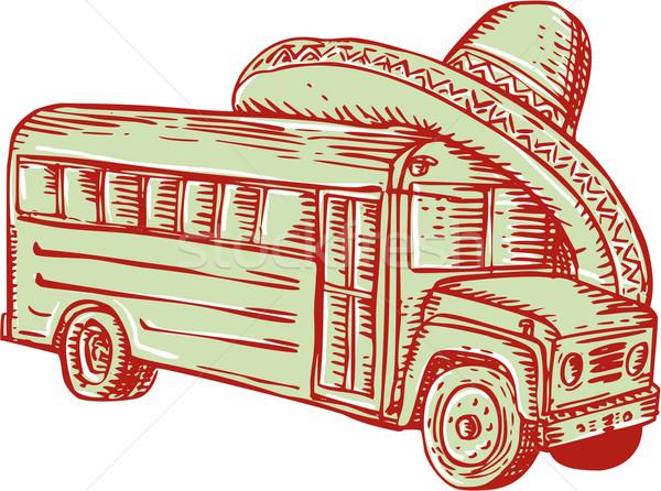 Szombréró iskolabusz vésés kézzel készített stílus illusztráció Stock fotó © patrimonio