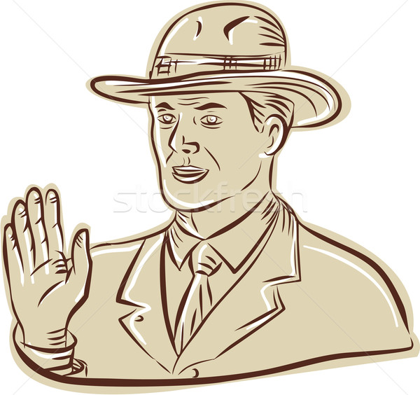 Businessman Fedora Hat Vintage Etching Stock photo © patrimonio