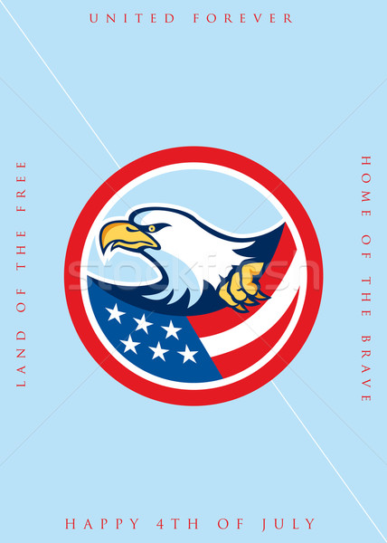 Independence Day Greeting Card-American Bald Eagle Clutching Flag  Stock photo © patrimonio