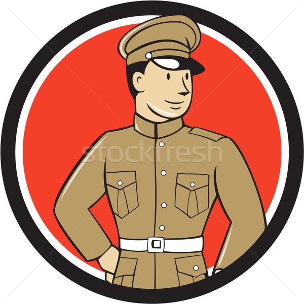 World War One British Officer Standing Circle Cartoon  Stock photo © patrimonio