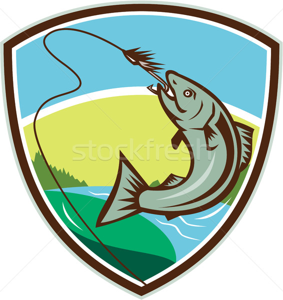 Trout Biting Hook Lure Shield Retro Stock photo © patrimonio