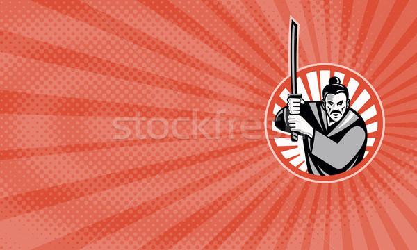 Samurai cartão de visita ilustração guerreiro Foto stock © patrimonio