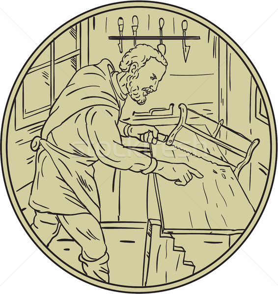 Medieval Carpenter Sawing Wood Circle Retro Stock photo © patrimonio