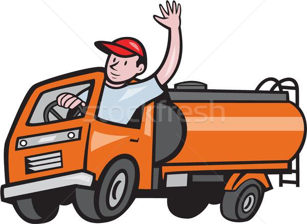 4 Wheeler Tanker Truck Driver Waving Cartoon Stock photo © patrimonio