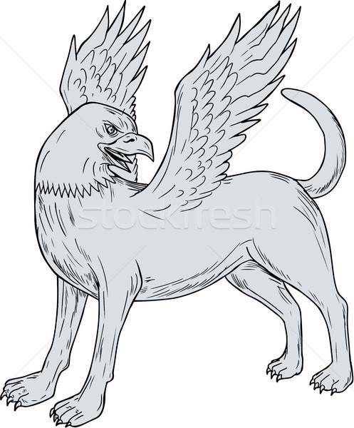 Kant tekening schets stijl illustratie mythologie Stockfoto © patrimonio