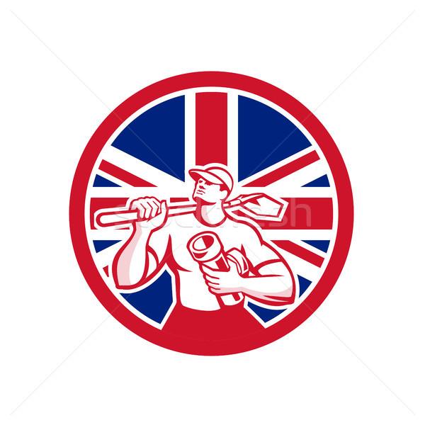 British Drainlayer Union Jack Flag Icon Stock photo © patrimonio