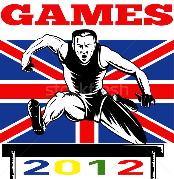 Játékok 2012 útvonal mező akadályok brit zászló Stock fotó © patrimonio